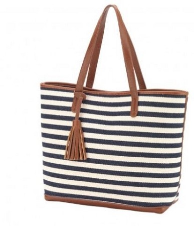 Monogrammed Chandler Striped Tote Bag