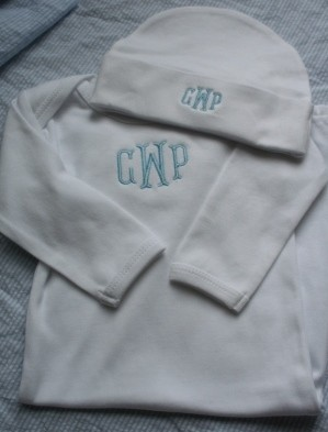 Monogrammed Newborn Gown and Cap Set