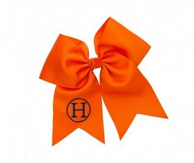 Orange Monogrammed Hair bow
