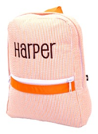 Monogrammed Orange Seersucker Backpack