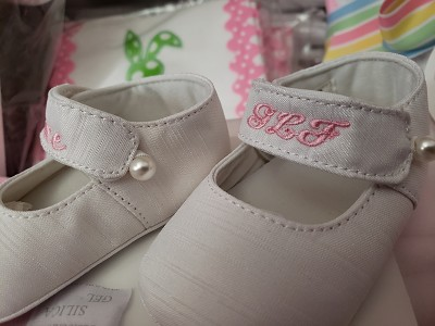 Monogrammed Pearl Accent Baby Shoes