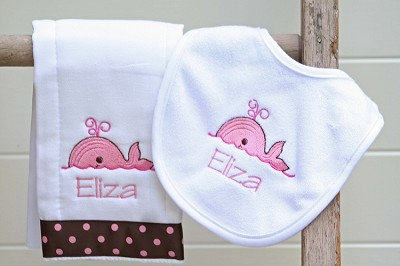 Personalized Preppy Whale Burp Cloth and Bib Set