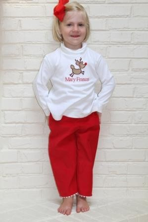Child's Embroidered Personalized Reindeer Shirt