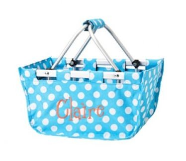 Personalized Mini Market Tote Aqua Dots