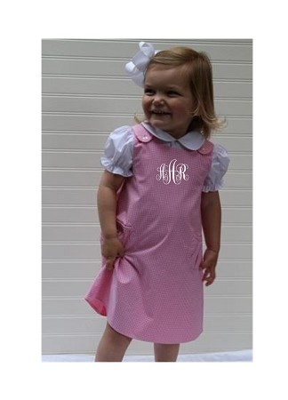 Monogrammed Pink Gingham Shift Dress with Pockets