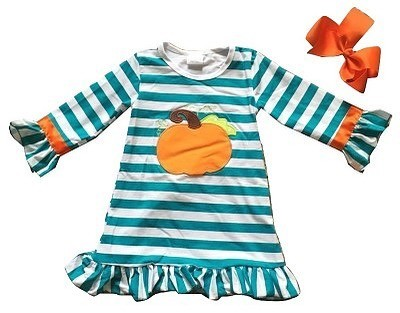 Monogrammed Teal and White Striped Pumpkin Dress