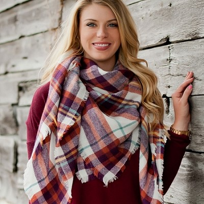 Monogrammed Rust Plaid Blanket Scarf