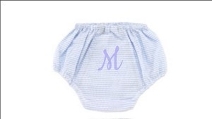 Monogrammed Light Blue Seersucker Diaper Cover