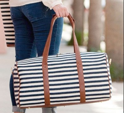 monogrammed navy Striped Duffel