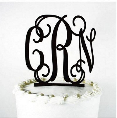 Monogrammed Acrylic Cake Topper